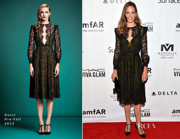 Hilary Swank In Gucci - amfAR Inspiration Gala