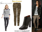 Jamie Chung's Two by Vince Camuto Stripe Sweater, Juicy Couture Leopard Skinny Jeans And Rebecca Minkoff 'Dalli' Booties