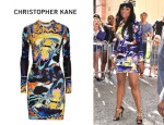 Jennifer Hudson's Christopher Kane Printed Stretch Jersey Dress