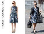 Jessica Alba's French Connection 'Spring Bloom' Flared Shirt Dress