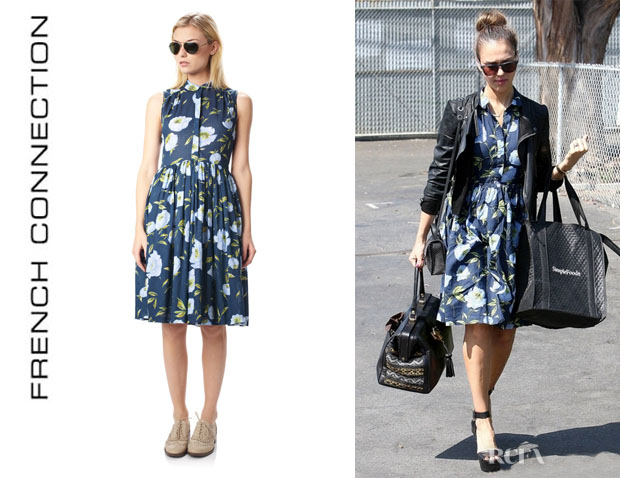 Jessica Alba's French Connection Spring Bloom Flared Shirt Dress