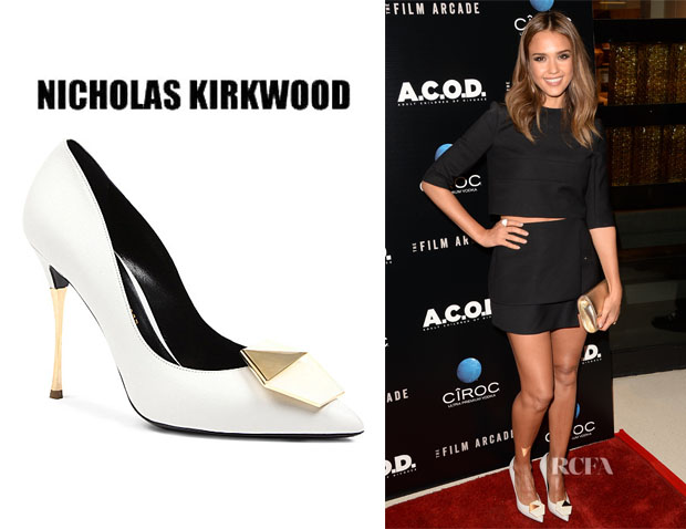 Jessica Alba's Nicholas Kirkwood Embellished Point-Toe Pumps