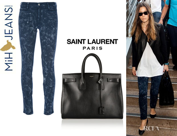 Jessica Biel's Mih 'Ellsworth' Skinny Jeans And Saint Laurent 'Sac Du Jour' Leather Tote