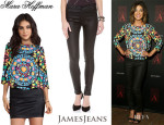 Jessica Szohr's Mara Hoffman Printed Slit-Back Top And James Jeans Twiggy Coated Legging Jeans