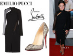Julia Louis-Dreyfus' Emilio Pucci Knee Length Dress And Christian Louboutin 'So Kate' Python Pumps