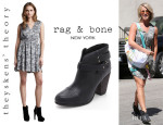 Julianne Hough's Theyskens' Theory Abstract Print Dress And Rag & Bone 'Harrow' Booties