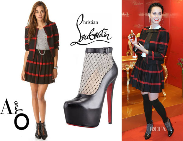 Katy Perry's Alice + Olivia 'Kidman' Open Box Jacket, Alice + Olivia Box Pleat Skirt And Christian Louboutin 'Resillissima' Lace Illusion Platform Booties