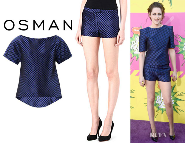 Kristen Stewart's Osman Checkered Brocade Top And Osman Checkered Shorts