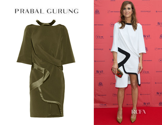 Kristen Wiig's Prabal Gurung Draped Woven Silk Dress1