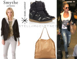 LeAnn Rimes' SMYTHE Reissue Schoolboy Blazer, Isabel Marant 'Bekett' Printed Wedge Sneakers And Stella McCartney 'Falabella' Tote
