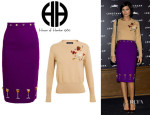 Leigh Lezark's House Of Holland Embellished Cashmere Sweater And House Of Holland Embellished Crepe Wool Pencil Skirt