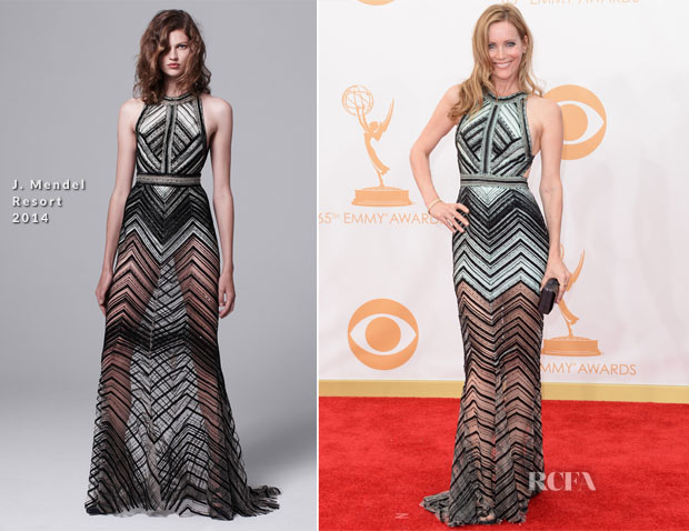 Leslie Mann In J Mendel - 2013 Emmy Awards