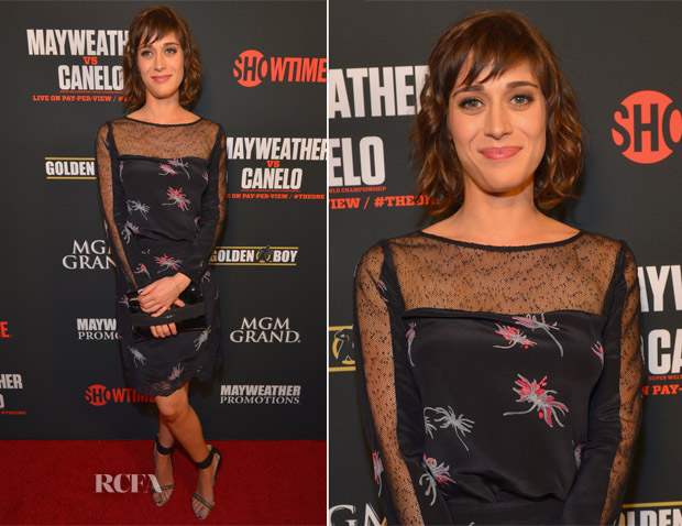 Lizzy Caplan In Holmes & Yang - Floyd Mayweather Jr vs Canelo Alvarez boxing match
