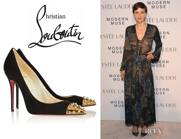 Maggie Gyllenhaal's Christian Louboutin 'Geo' Studded Suede Pumps