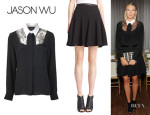 Maria Sharapova's Jason Wu Button Up Shirt And Jason Wu Leather Trimmed Skirt