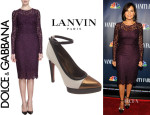 Mariska Hargitay's Dolce & Gabbana Long Sleeve Lace Dress And Lanvin Pumps