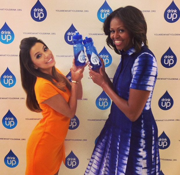 Michelle Obama In Tory Burch & Eva Longoria In Camilla and Marc - Drink Up Initiative