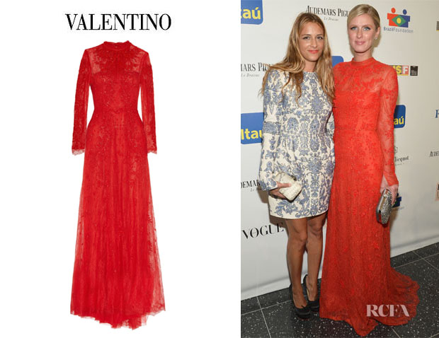 Nicky Hilton's Valentino Embroidered Lace Gown