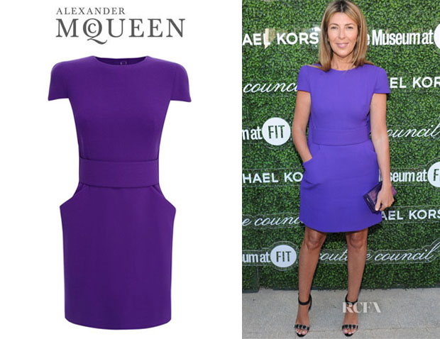 Nina Garcia's Alexander McQueen Cape Back Wool Crepe Dress