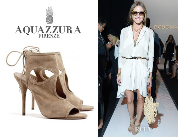 Olivia Palermo's Aquazzura 'Sexy Thing' Suede Cutout Sandals