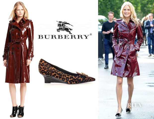 Poppy Delevingne's Burberry Prorsum Double Breasted Patent Leather Trench Coat And Burberry Prorsum 'Partridge' Wedges