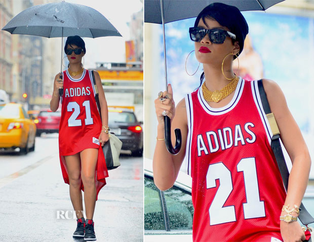 Rihanna In adidas Originals x Jeremy Scott -  Out In New York City