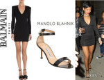 Rihanna's Balmain Fitted Dress And Manolo Blahnik 'Chaos' Sandals