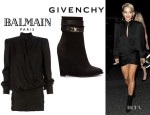 Rita Ora's Balmain Short Wrapped Dress And Givenchy Suede Shark Lock Ankle Boots