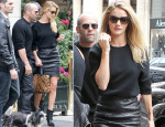 Rosie Huntington-Whiteley In J Brand & Loewe - Out In Paris