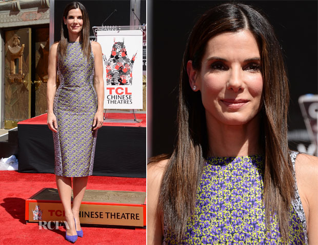 Sandra Bullock In Antonio Berardi - Hand And Footprint Ceremony