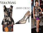 Selena Gomez' Vera Wang Rose Jacquard Peplum Dress And Jimmy Choo 'Alias' Lace Pumps