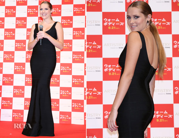 Teresa Palmer In Hervé Léger by Max Azria - 'Warm Bodies' Japan Premiere