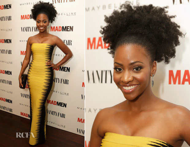 Teyonah Parris In Hervé Léger by Max Azria - Vanity Fair and Maybelline Toast To 'Mad Men'