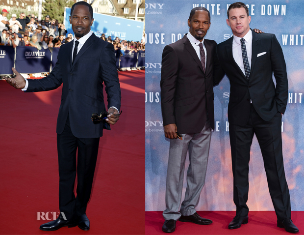 Channing Tatum And Jamie Foxx White House Down Promo Tour Red