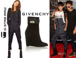 Willow Smith's G Star Denim Dungaress And Givenchy Shark Lock Wedge Ankle Boots