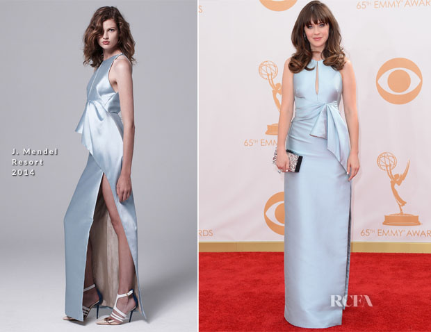 Zooey Deschanel In J Mendel - 2013 Emmy Awards