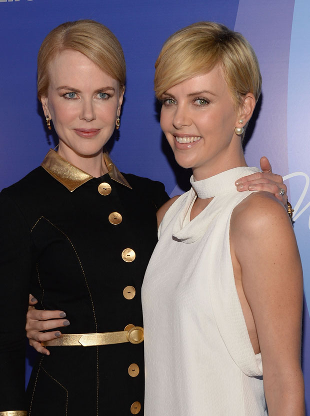 Nicole Kidman in L'Wren Scott and  Charlize Theron in Stella McCartney
