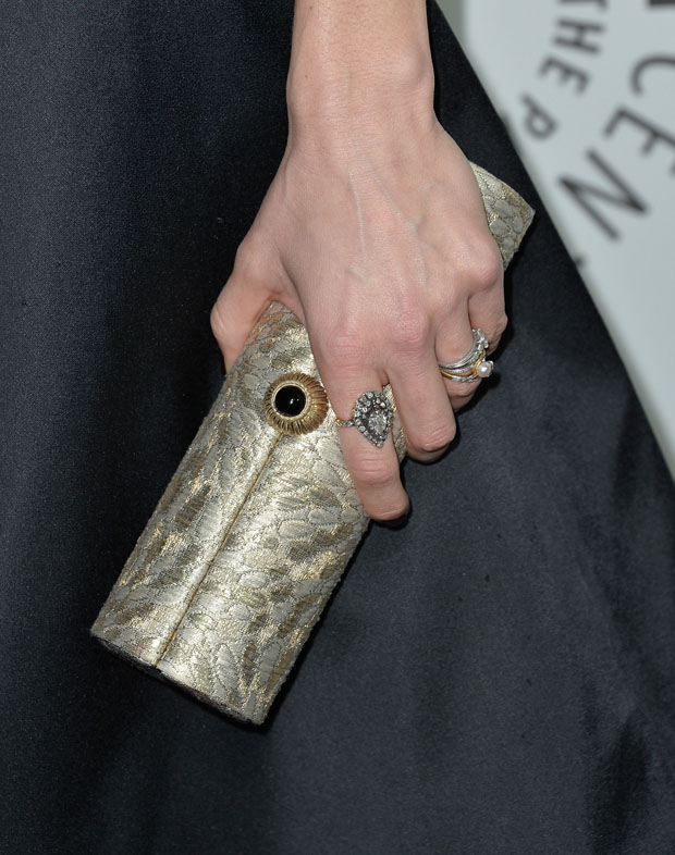 Katie Aselton's Amanda Pearl clutch and Neil Lane jewels
