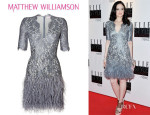 Andrea Riseborough's Matthew Williamson Floral Lace Feathered Dress