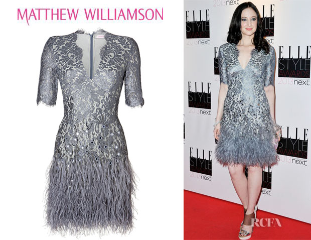 Andrea Riseborough's Matthew Williamson Floral Lace Feathered Dress1