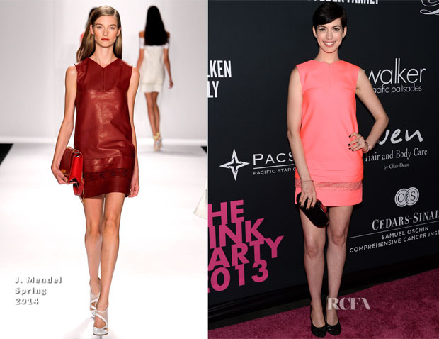 Anne Hathaway In J Mendel - Elyse Walker's Pink Party
