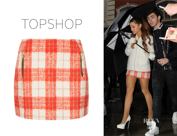 Ariana Grande's Topshop Orange Wool Check Skirt