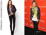 Ashley Benson's French Connection 'Athena' Colour Block Biker Jacket