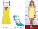 Bella Thorne's Fausto Puglisi Sleeveless Dress And Sophia Webster 'Portia' T-Strap Pumps