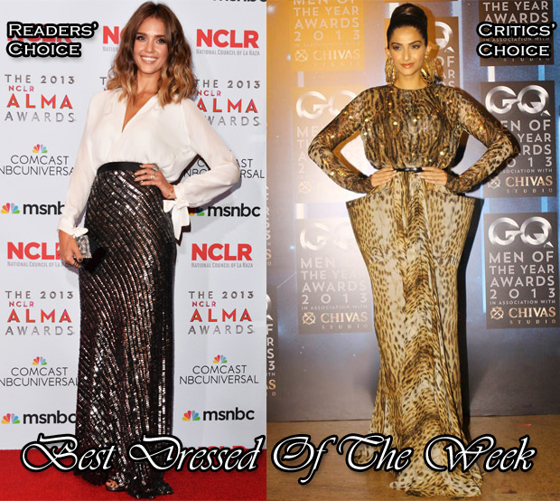 Best Dressed Of The Week - Jessica Alba In Juan Carlos Obando & Sonam Kapoor In Jean Paul Gaultier Couture