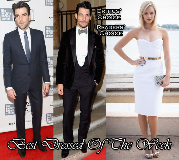 Best Dressed Of The Week - Laura Vandervoort in Alex Perry, Zachary Quinto in Dior Homme & David Gandy in Dolce & Gabbana