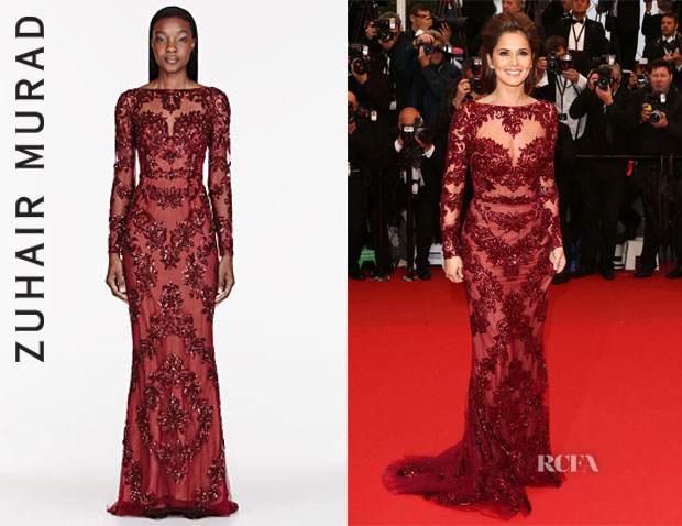 Cheryl Cole's Zuhair Murad Tulle Embellished Pillar Gown