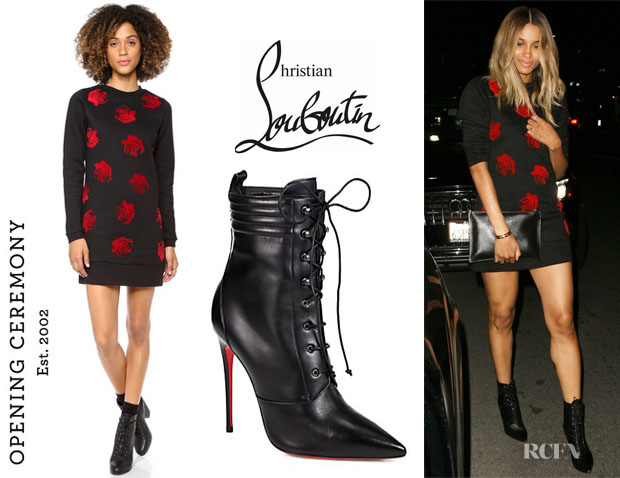 Ciara's Opening Ceremony 'Lucky Rose' Sweatshirt Dress And Christian Louboutin 'Mado' Leather Lace-Up Ankle Boots