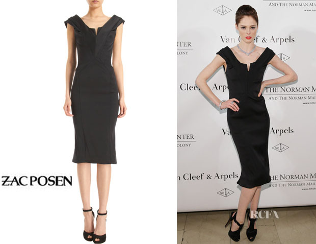 Coco Rocha's Zac Posen Plunging V-Neck Cocktail Dress
