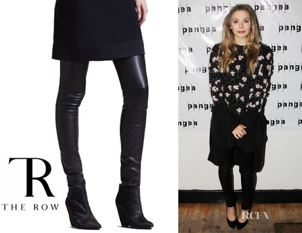 Elizabeth Olsen's The Row Stretch-Leather Motorcycle Leggings1